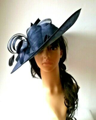 New Navy Blue Sinamay Bow Hatinator.hat.Large saucer disc Wedding.races.