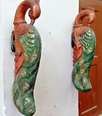 Wooden Wall Peacock Colored Bracket Peafowl Corbel Pair Sculpture Vintage Decor