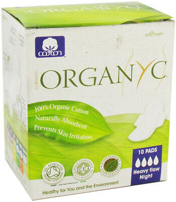 Organyc 100% Organic Cotton Pads Night Wings Prevents Skin Irritation - 10 Pads