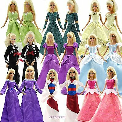 Lot Style Colorful Fairytale Princess Gown Dress Clothes For Barbie Doll Beauty