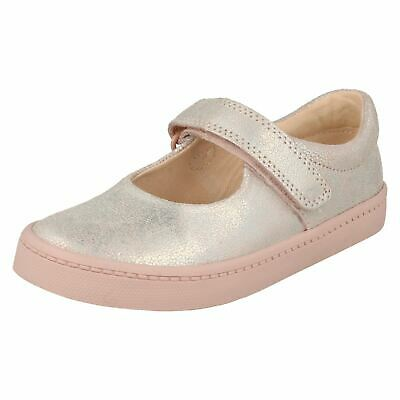 Girls Toddler Clarks Leather Hook & Loop Mary Jane Casual Shoes City Gleam Size
