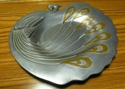 Art Nouveau Peacock w/Brass Feathers Overlay Decorative Tray Dish- Continental