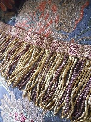Antique French Gold Purple   Metallic Trim Bullions 5 Caterpilar