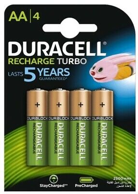 4 x Duracell Recharge Turbo R6 / AA batteries 2500 mAh (blister)