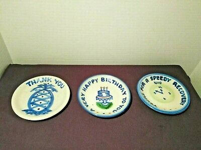 MA Hadley Pottery Coasters Lot of 3 Speedy Recovery Happy Birthday Thank You
