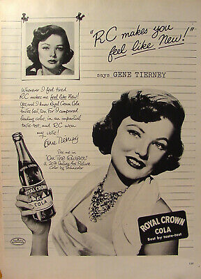 1940s Royal Crown RC Cola /& Gene Tierney Featured on Collector/'s Envelope *A908