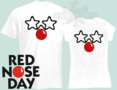 Red Nose Day 2019 Comic Relief, WHITE BLACK t shirt DJ STAR GLASSES  TM