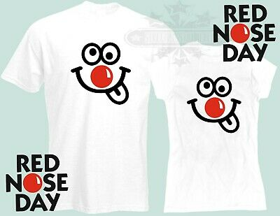 Red Nose Day 2019 Comic Relief, WHITE BLACK t shirt fundraising FUNNY FACE TM