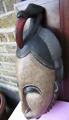 Antique African Tribal Art Rare Wooden Large Mask Bird on Top.
