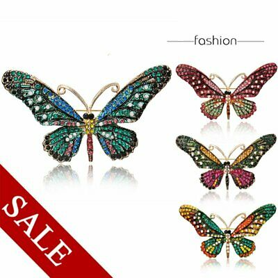 Fashion Crystal Rhinestone Animal Butterfly Wing Brooch Pin Women Party Hot Gift
