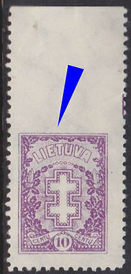 Lithuania 1926 Mi 271C Variety - Imperforated at top MNH (light hinge on margin)