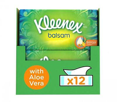 Kleenex Balsam Facial Tissues, Pack of 12 Tissue Boxes Protective Balm