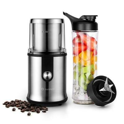 Zanmini Electric Coffee Grinder with Mini Blender 2-in-1 Personal Smoothie...