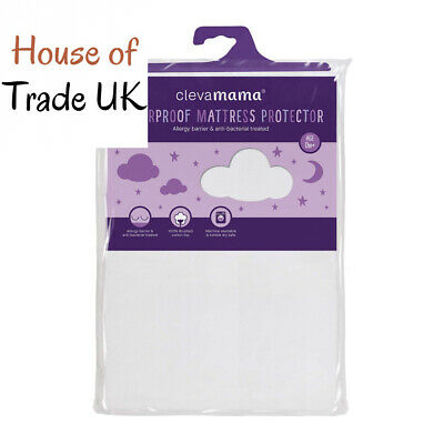 Clevamama Waterproof Fitted Brushed Cotton Mattress Protector Cot Bed, 70x140 cm