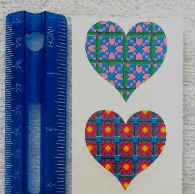Mrs Grossman QUILTED HEARTS Half Strip of Vintage Quilt Patterned Stickers/'