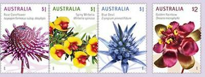 ^ 2016 Wildfowers, 4 Sheet FRANKED ON PAPER Australian Stamps