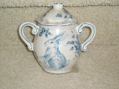 Maxcera Blue & White Toile Rabbit Bunny Easter Sugar Bowl With Lid