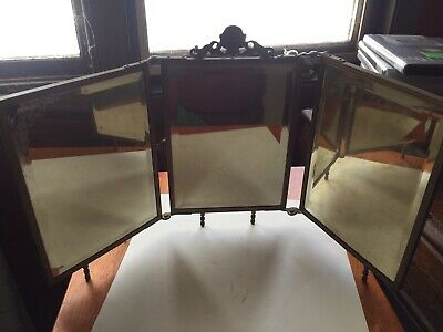 c.1900 Bronzed metal Vanity Mirror Bezeled Ornate Table Top 3 Tier