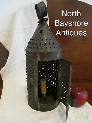 Antique 1800s New England Punched Tin or Sheet Metal Candle Lantern Holder aafa