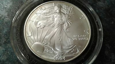 2004 Silver American Eagle 1 oz US $1 Dollar Uncirculated Brilliant In Capsule