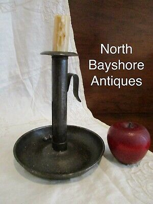 Antique 1800s New England Sheet Metal Tin Push Up Candle Stick Chamberstick aafa