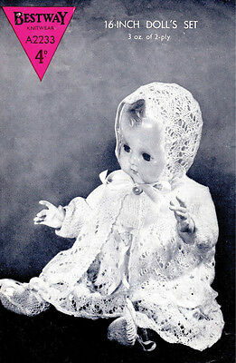 """VINTAGE KNITTING PATTERN  COPY - TO KNIT LAYETTE FOR 15-16"""" DOLLS - 1940's"""