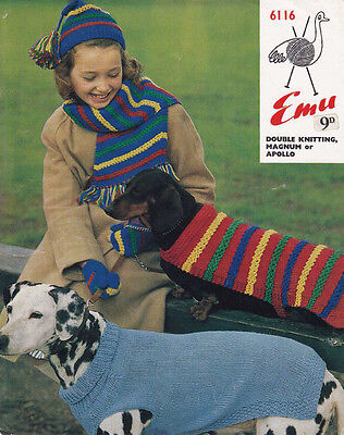 VINTAGE KNITTING PATTERN  COPY -TO KNIT DOGS  COATS IN 2 SIZES -  8 PLY - 1960's