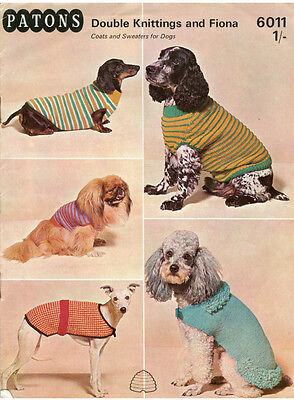 VINTAGE KNITTING PATTERN COPY -TO KNIT DOGS  COATS IN 5 SIZES - 1960's