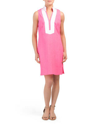 SAIL TO SABLE Linen Classic Sleeveless TUNIC DRESS Hot Pink + White $188 STS