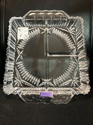 Waterford Crystal Marquis Square 3 Compartment Relish Tray NIB