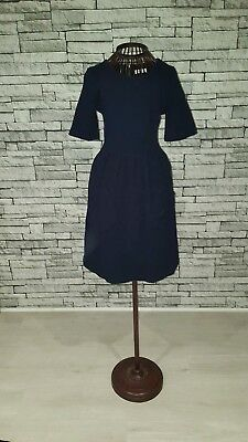Size UK 8 Whistles Jude Navy Blue Textured Skater Swing Cotton Day Work Dress