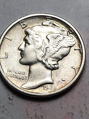 Unc 1945 P Mercury Dime Almost Uncirculated 90/% Silver Coin AU