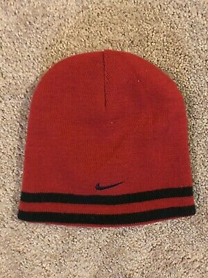 c97a32a7ec2 Nike Boys Hat Black Red Striped Reversible Beanie Knit Winter Skull Cap