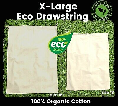 Eco Extra Large Drawstring Bags Large Tote Calico Bags 145gsm 100% Cotton 1-200