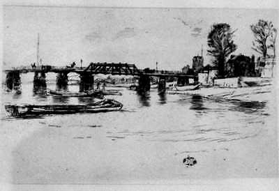 James McNeill Whistler Fulham(K182,M179) Etching 2nd & Final State Sn. Butterfly