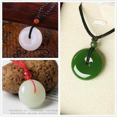 Chinese Natural White/Green Color Jade Hand-carved Harmony Lucky Round Pendant