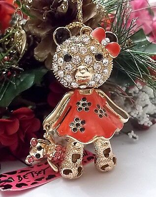 Betsey Johnson Lovely Crystal & Enamel Red Bear With Bow Pendant Necklace
