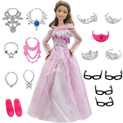 1 Pink Princess Dress Crown Necklace Shoes Ball Clothes For 12 in. Girl Doll Toy