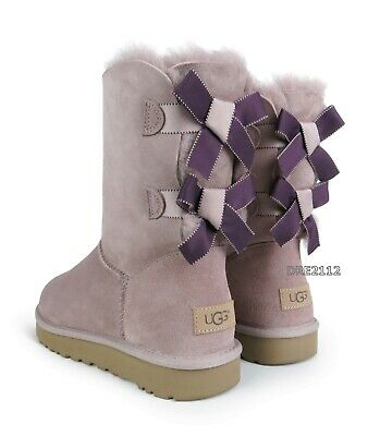e61eb89268c UGG MINI BAILEY Bow II Glam Pink Dusk Suede Fur Boots Womens Size 9 ...