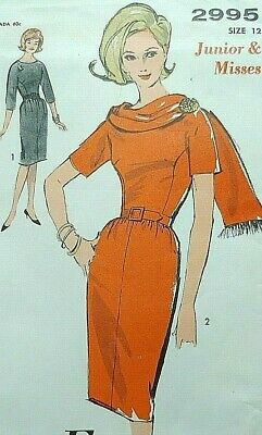 Vintage 1950s Advance sewing pattern 2995 sheath dress drape collar 32bust uncut