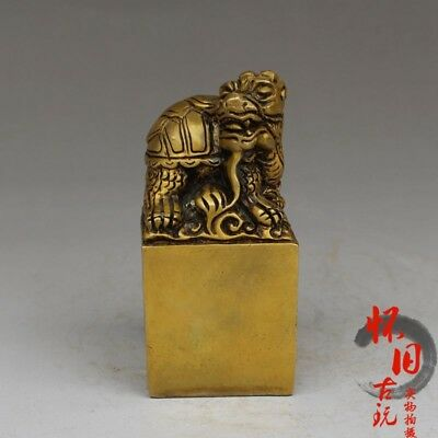 Old Chinese  Handmade  brass  Xuanwu  Imperial jade seal  statue  seal