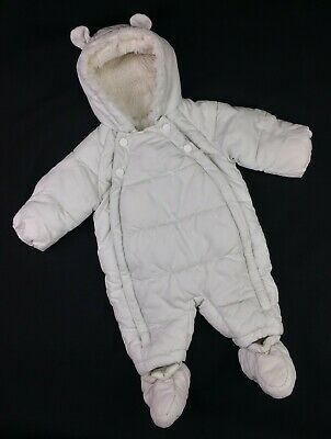 Baby Boys/Girls Clothes UNISEX M&S white Snowsuit Pramsuit All-In-One 0-3 Months