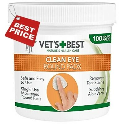 Vet's Best Eye Cleaning Pads for Dogs, 100 Pads Moistened Safe Gently Eyes Wipes