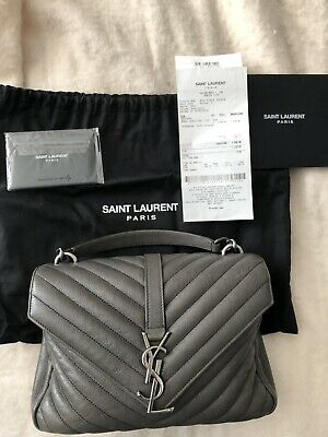a37becfe1027 Pre-owned YSL Saint Laurent Medium College Bag w  Receipt Gray Asphalt