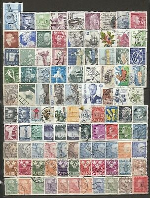 BULK LOT #1 -  100 Different Stamps from Sweden