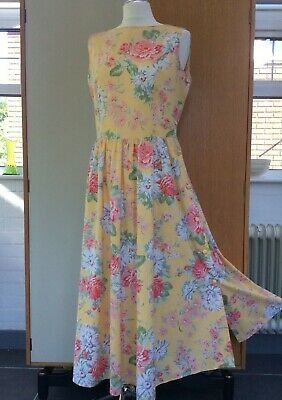 33a9d52e136 Laura Ashley dress primrose yellow floral cotton summer vintage size 16 (12)