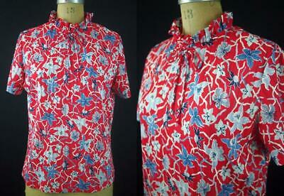 55036b129 vtg 60s 70s GRAFF CALIFORNIAWEAR Red Mod Floral Shirt Blouse Top Bow  Secretary M