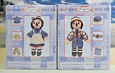 Lot of 2 Crochet Doll Kits RAGGEDY ANN & ANDY *New/Sealed*  COMPLETE/Rare
