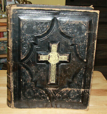 Bright Antique 1859 Catholic Bible Douay Rheims Original Nice Manuscripts Antiques