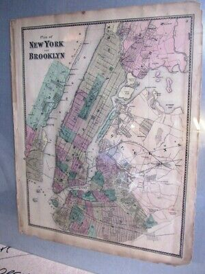 1868 Map Plan Of New York And Brooklyn Fw Beers Atlas Hand Colored
